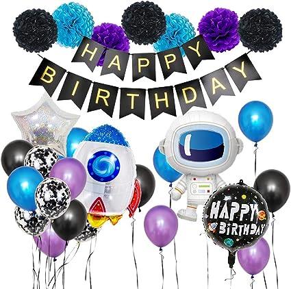 Amazon.com: Juego de globos de astronauta con globo de color ...