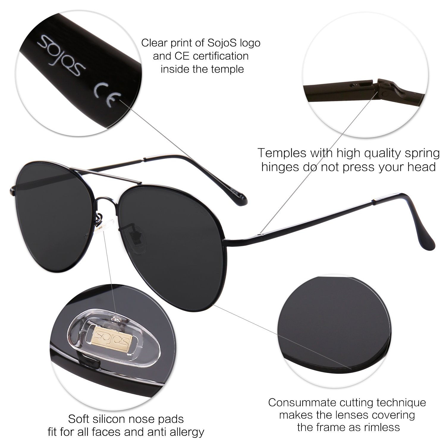 9ceba8e117 SojoS Classic Aviator Metal Frame Mirror Lens Sunglasses with Spring Hinges  SJ1030 With Black Frame Grey Lens  Amazon.co.uk  Clothing