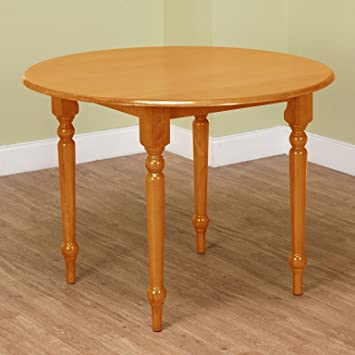 Target Marketing Systems 40 Inch Round Drop Leaf Table With Turned Spindle Legs Oak