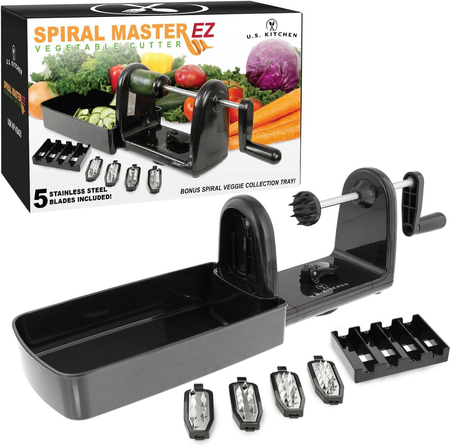 U.S. Kitchen Supply Spiral Master EZ Vegetable Cutter with 5 Versatile Stainless Steel Slicer Blades - Compact, Durable - Make Spiral Veggie Pasta, Spaghetti - Cut Fruit