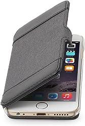 """StilGut Book Type Case con Clip, Custodia in Vera Pelle e Tessuto a Libro per Apple iPhone 6s (4.7""""), Nero/Antracite"""