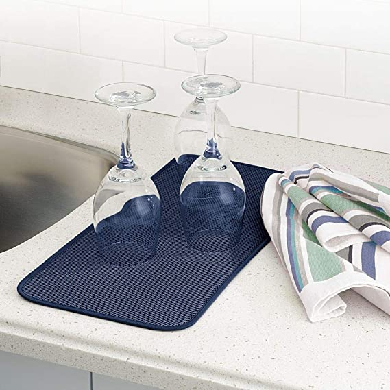 mDesign Alfombrilla escurridora para vasos, platos, sartenes - Pack de 4 unidades- Tapete escurre platos - Utensilios de cocina de rápido secado y fácil de ...