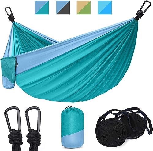 Hinastar Hammock Camping-Double Single Portable Parachute Hammock with 2 Tree Straps 10 ft,19 Loops and 2 Carabiners,Lightweight Nylon Parachute Hammocks Cyan Light Blue