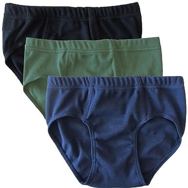 2f1f3f8c3e53d HERMKO 2850 Lot de 3 Slips garçons, Couleur Unique, 100% Coton, Taille