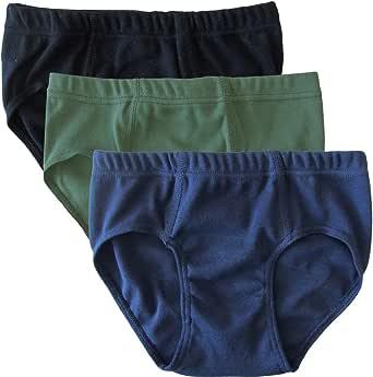 HERMKO 2850 Pack de 3 Slips de Color de niño, algodón orgánico 100% elástico