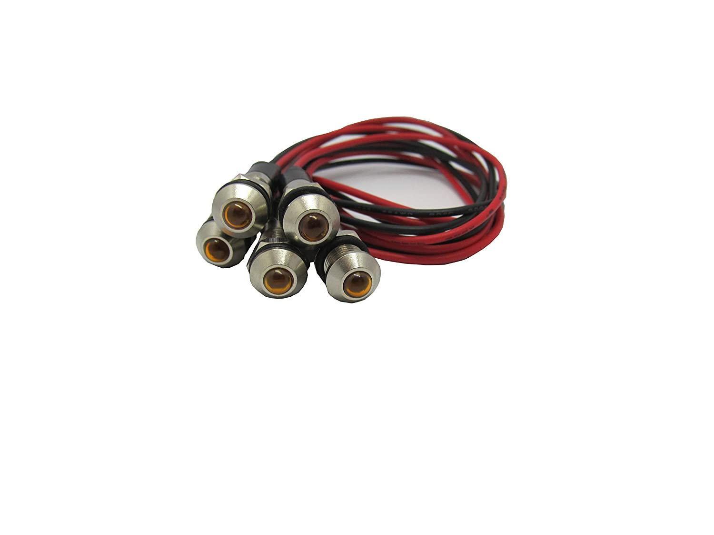LED Signalleuchte mit Kabel 5 Stk Gelb 230V AC//DC