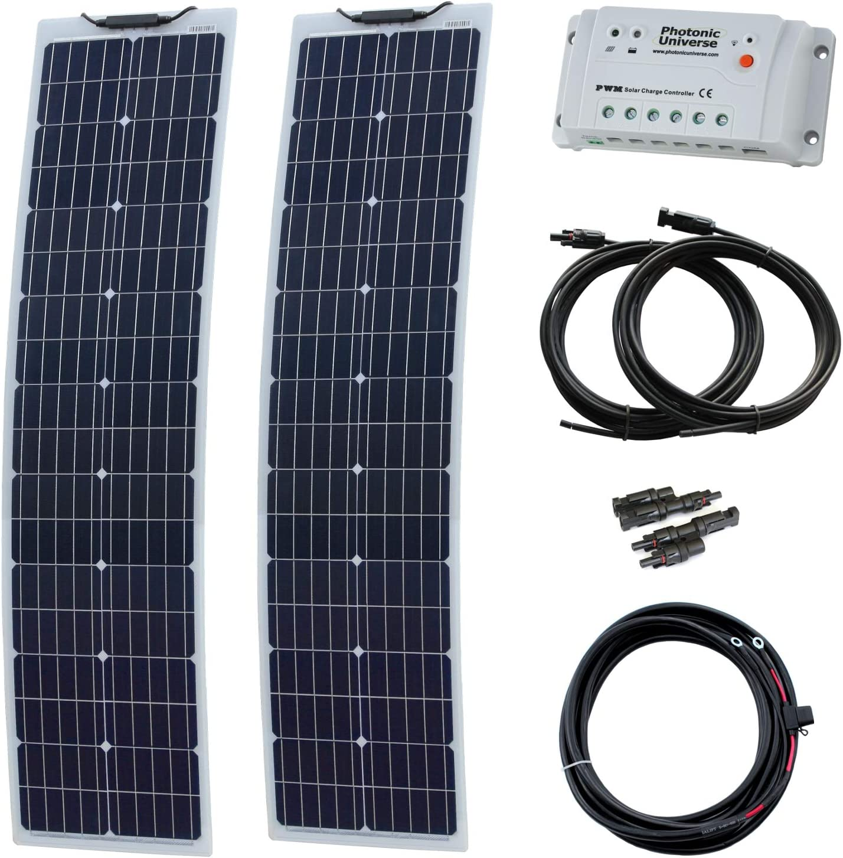 160 W (80 W + 80 W) 12 V Kit de carga solar estrecha ...
