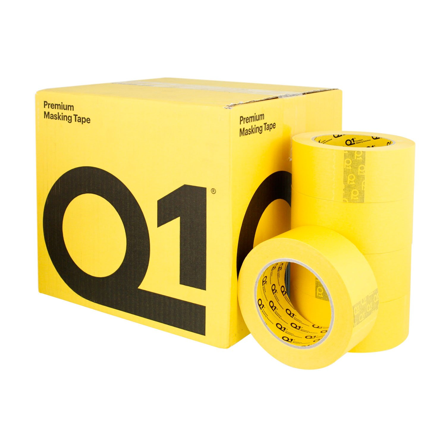 Q1 - 2 inch (48mm x 55m) Premium High Performance Automivite Yellow Masking Tape - High Temperature - Case of 20 Rolls by Q1 (Image #1)