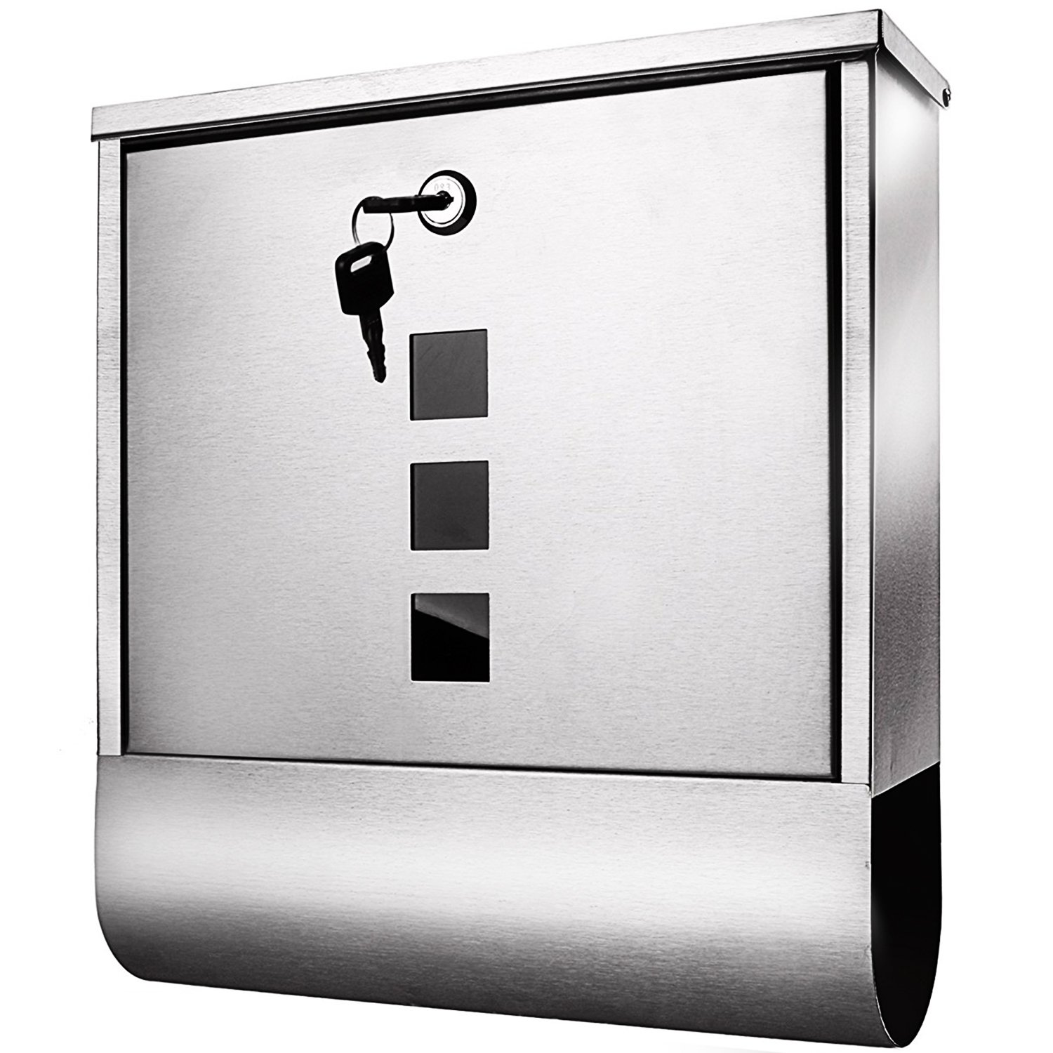 Homself Wall Mounted Mailbox Stainless Steel Locking Mail box Postbox with Retrieval Door 2 Keys and Newspaper Compartment