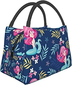 Cartoon Mermaids Lunch Box Meal Bag Lunch Bag Portable Insulation Bag With Plants And Flowers,Reusable Snack Bag Food Container Tote Bag.
