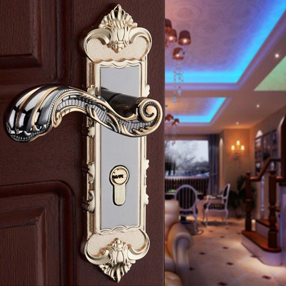 Aluminum Entry Indoor Lever Door Lock Set Bedroom Handle Knob Lockset & Keys