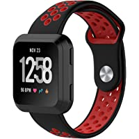 Fitbit Versa Bands, Soft Silicone Sport Band Replacement with Ventilation Holes Breathable Strap Bands for New Fitbit Versa Smart Fitness Watch Women Men(black&red)