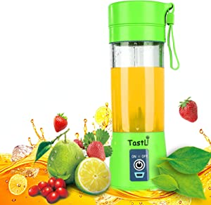 TastLi Portable Blender, Juicer Cup13oz Mixing Machine with Six Blades in 3D, Magnetic sensor and 2000mAh USB Rechargeable Batteries, Perfect Mini Smoothie Blender for Personal Use (Green)