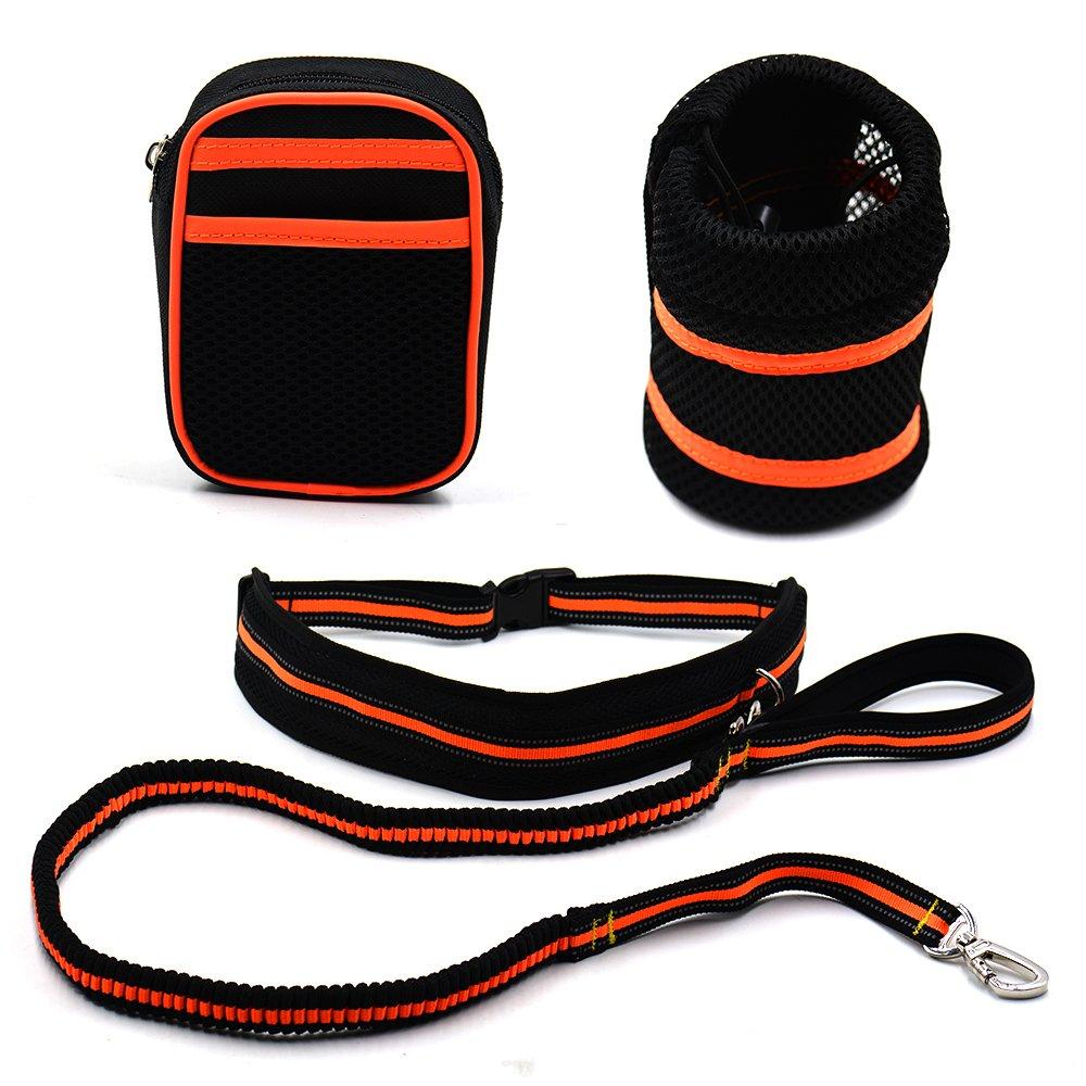 orange LXLP Hands Free Dog Leash for Running,Reflective Traction Kit Waist Leashes,Waist Pack,Water Bag Dog Leash for Jogging or Walking 4-Foot Long (orange)