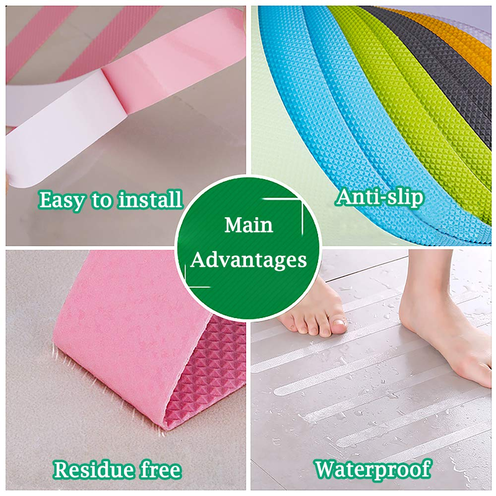 Black, Large Size Jassmine 24 Pcs Non-Slip Treads,Adhesive Decals,Anti-Slip Stickers,Ideal Appliques Tape for Baby,Senior,Adult.Suit for Bath Tub,Stairs,Shower Room /& Other Slippery Surfaces