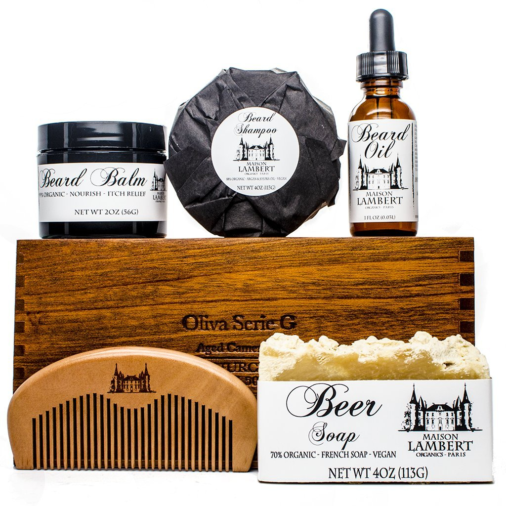 Ultimate Beard Kit Contains: Organic Beard Balm, Organic Beard Oil, Organic Beard Shampoo, Wood Beard Comb and a Free Organic Body Soap. Perfect fathers day gifts! by Maison Lambert