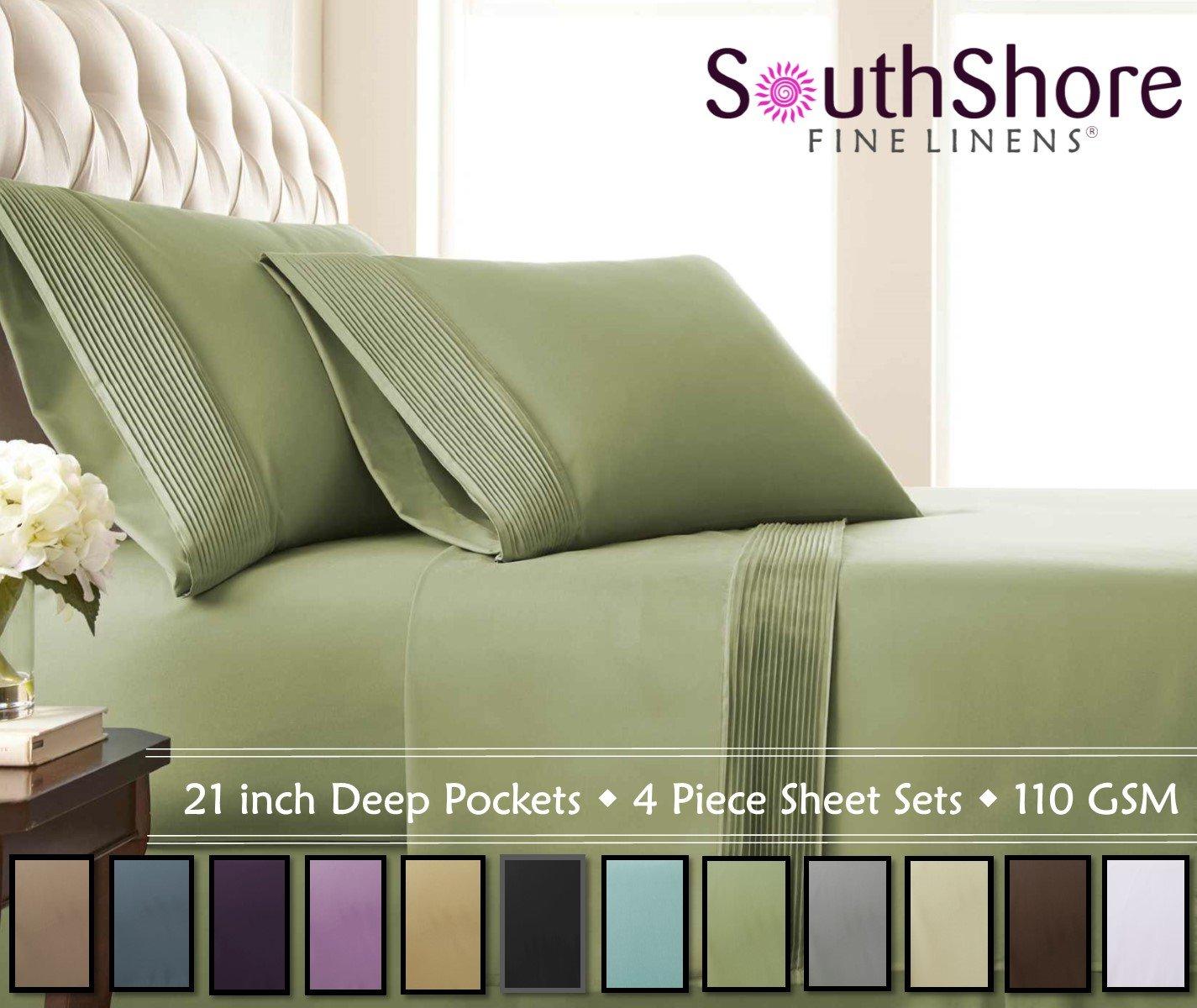 Southshore Fine Linens - 4 Piece - Extra Deep Pocket Pleated Sheet Set, Queen, SAGE Green
