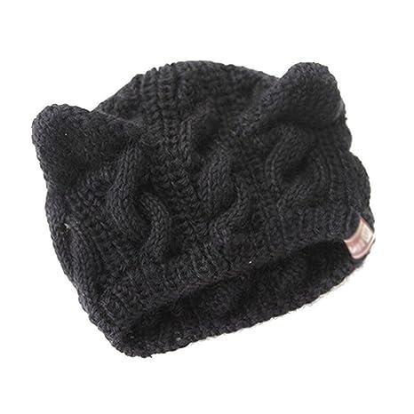 Gleader Cappello berretto a maglia carino con orecchie gatti nero ... ee28b5f7111b
