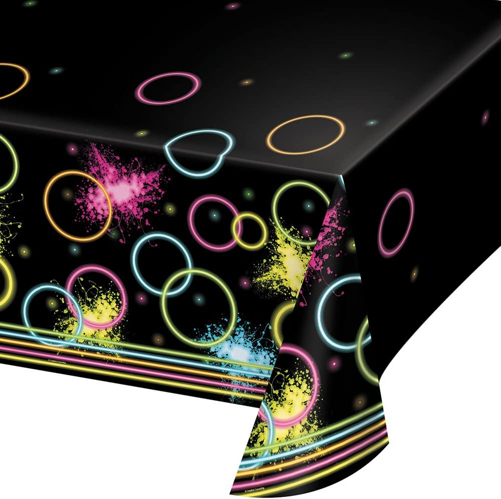 Creative Converting 318135 All Over Print Plastic Tablecover, 54 x 102, Glow Party