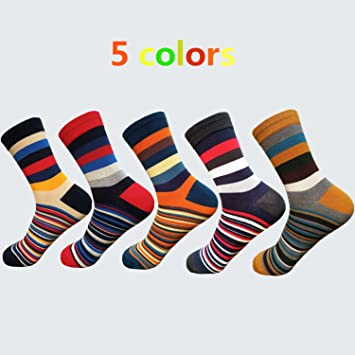 7bb16a09105 Casual Mens Socks Chromatic Stripe 5 Pairs Of Socks Man With The Final  Design Clothing Fashion