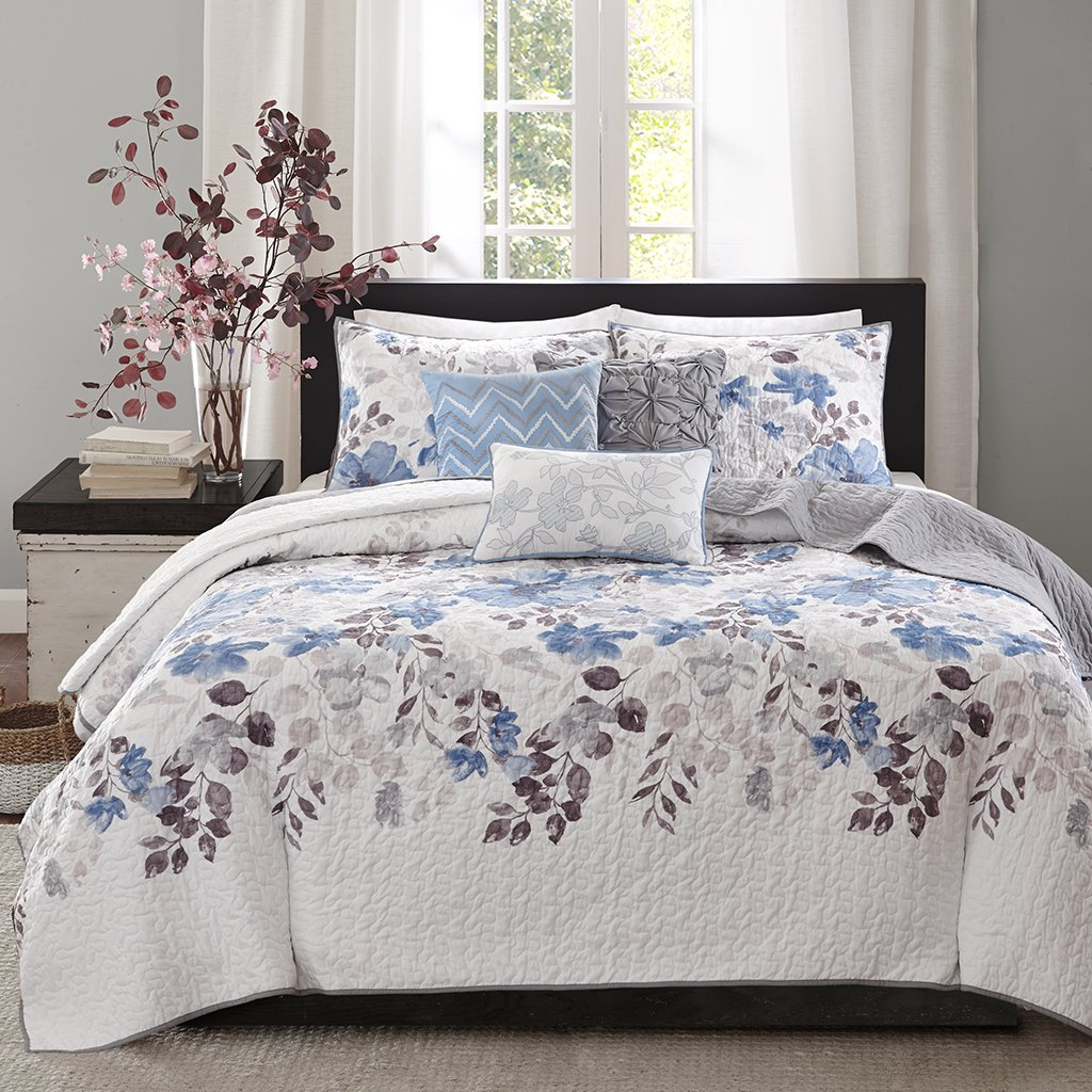 Madison Park Luna Full/Queen Size Quilt Bedding Set - Blue, Plum, Floral, Leaf – 6 Piece Bedding Quilt Coverlets – Ultra Soft Microfiber with Cotton Filling Bed Quilts Quilted Coverlet