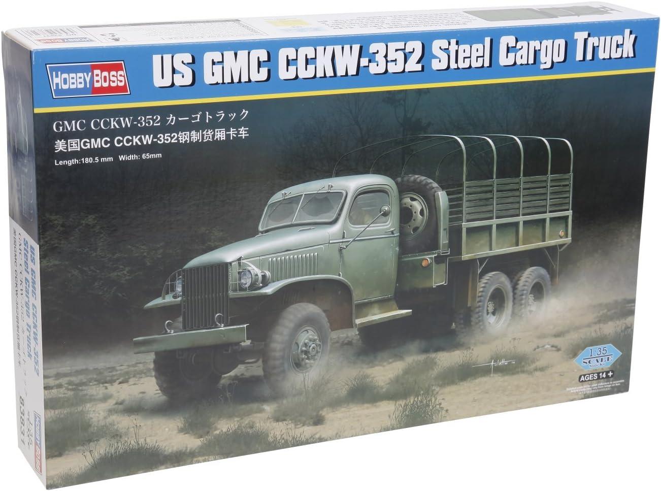 Kit Hobbyboss 1:35 83.831 de Estados Unidos GMC Truck CCKW 352 Acero Cargo Modelo Militar