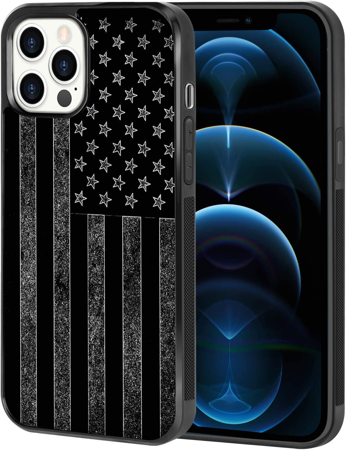 AIGOMARA iPhone 12 Pro Case, iPhone 12 Case (2020) Black White American Flag Cute Slim Tire Anti-Slip Texture Soft TPU Bumper Shockproof Full Protection Smooth Glossy Hard Back Cover 6.1 Inch
