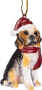 Design Toscano Beagle Holiday Dog Christmas Tree Ornament Xmas Decorations, 3 Inch, Full Color