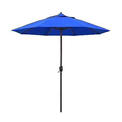 California Umbrella 9\' Round Aluminum Market Umbrella, Crank Lift, Auto  Tilt, Bronze Pole, Royal Blue Olefin