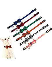 Crystal Pets Collar for Cat and Dog with Bells Plaid Bowtie Style Adjustable Breakaway Kitty Collars, 2 Pcs Personalization Options