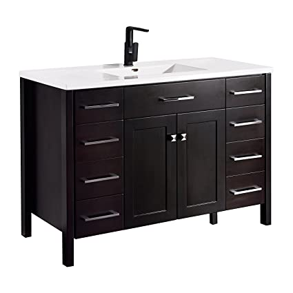 KDK Freestanding Modern Bathroom Vanity With Porcelain Countertop And  Mirror Combo,Cabinets With Soft Close
