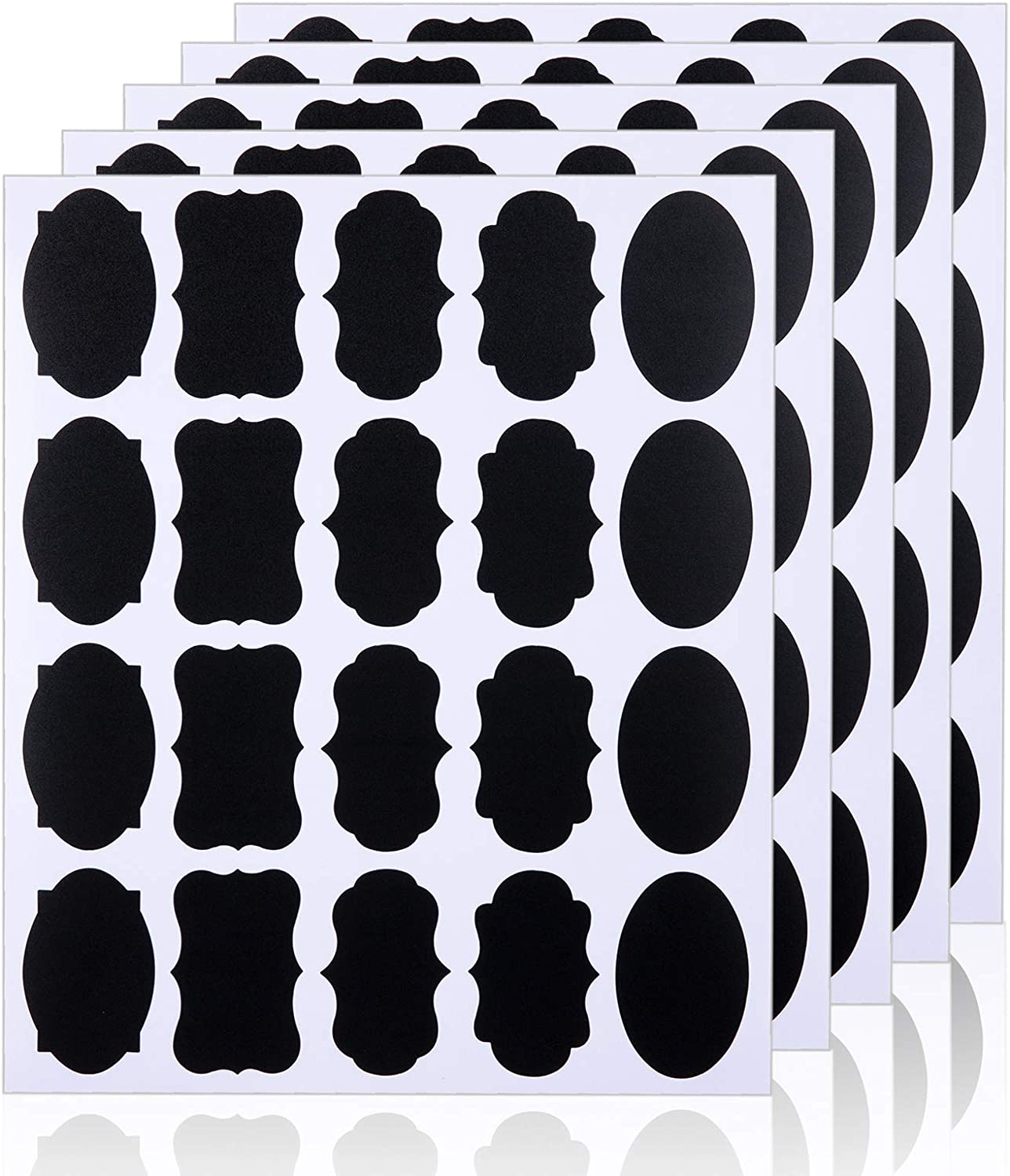 CNJ 200 Chalkboard Labels Stickers for Food Jars, Spice, Glass, Cups, Bottles, Containers and Canisters, Decorative Reusable Waterproof Blackboard Labels - 10 Sheet (200Pcs)