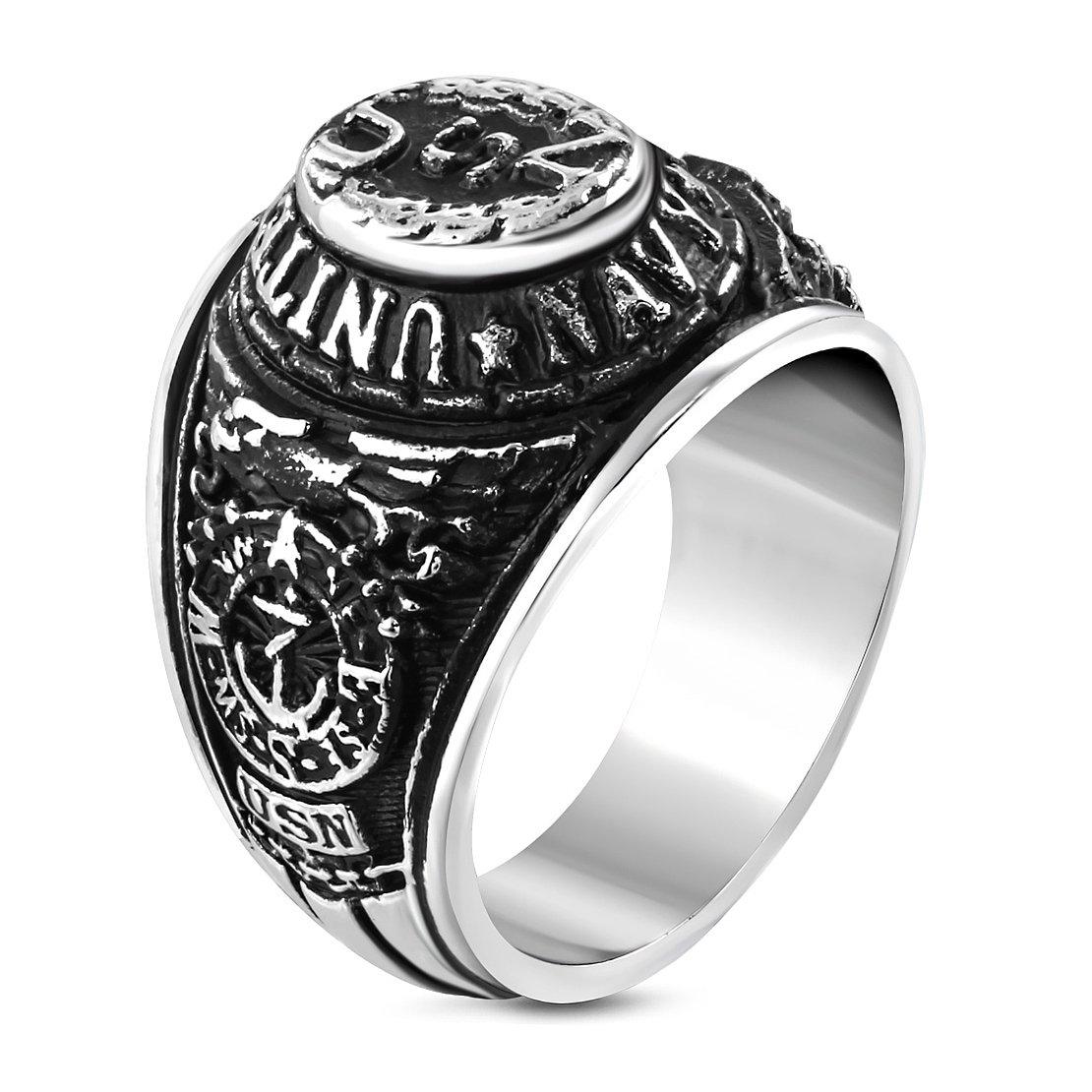 Stainless Steel 2 Color US Navy Biker Ring