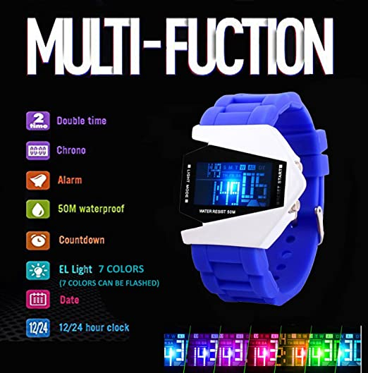 Amazon.com: Boys Kids Digital Sport Watch Warcraft Fighter Multi Function for Kids Age Above 12 LED Electronic Analog Quartz Silicone Wrist Watches for Kids ...