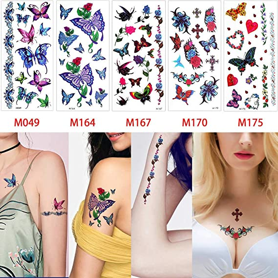 adgkitb Etiqueta engomada Temporal Que florece el Tatuaje Realista ...