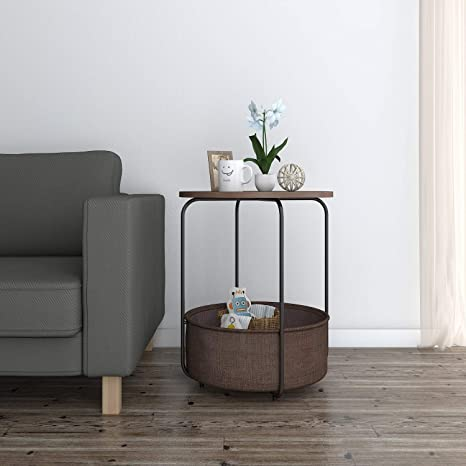 Lifewit Round Side Table End Table Industrial Coffee Table Nightstand With Storage Basket Wood Look Accent 18 9 18 9 23 6 In