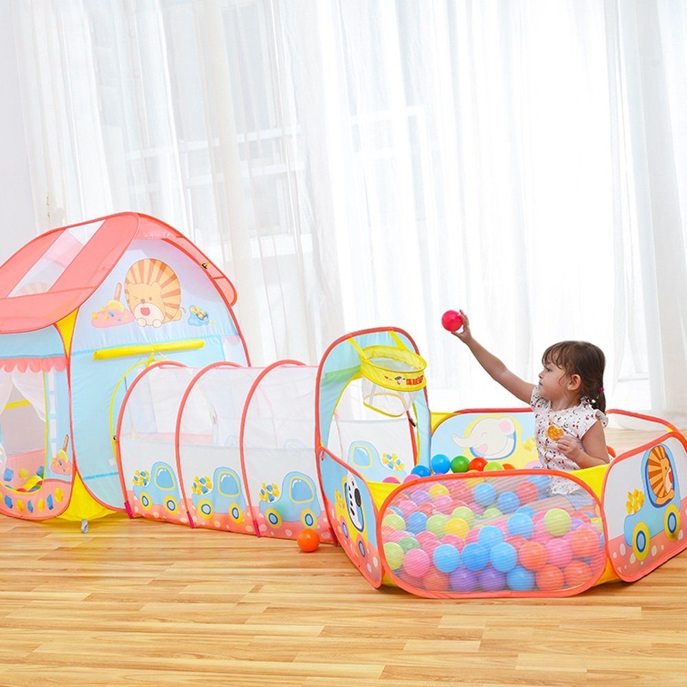 T- Pop-up Children's Game Tent, Little Lion Cartoon Pattern Blue And Pink Modeling Ocean Ball House Breathable Tents Indoor And Outdoor Toys Small Tent (Does Not Include Ocean Ball) ( Size : #C )