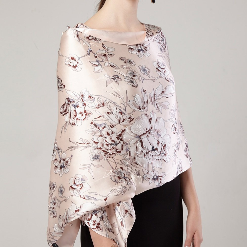 Chal con bufandas Bufanda de seda de deducción de primavera y otoño Pañuelos de seda de párrafo larg...