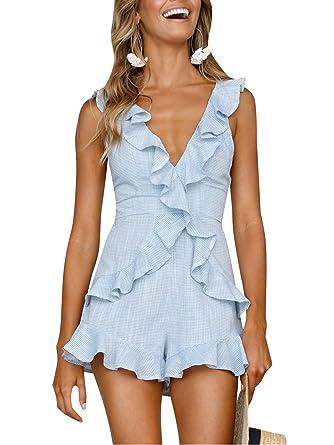 bb6989e78c86 Terryfy Damen Sommer Kurz Jumpsuit Elegant V-Ausschnitt Rückenfrei Volant Overall  Playsuit  Amazon.de  Bekleidung