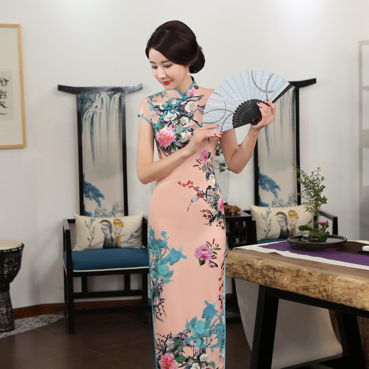 ACVIP Women Stand Collar Cap Sleeve Retro Chinese Floral Maxi Qipao Cheongsam (China 3XL/Bust:40.9'') by ACVIP (Image #8)