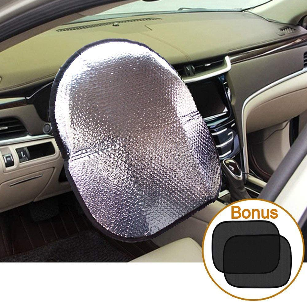 "Big Ant Steering Wheel Cover Sun Shade + Bonus Cling Side Window Sunshade-Heat Reflector Fit Most Jumbo/Standard Car-Sliver (20.1""X 17.3"")"