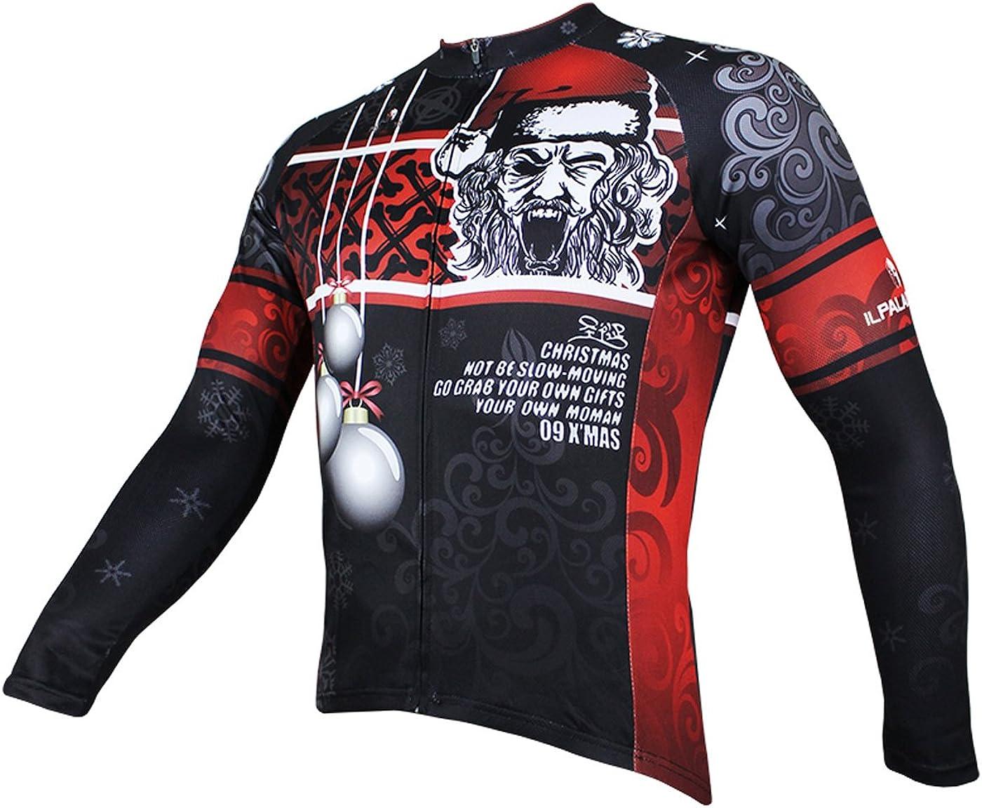 ILPALADINO Bike Jersey Mens Long Sleeve Christmas Pattern Size XL