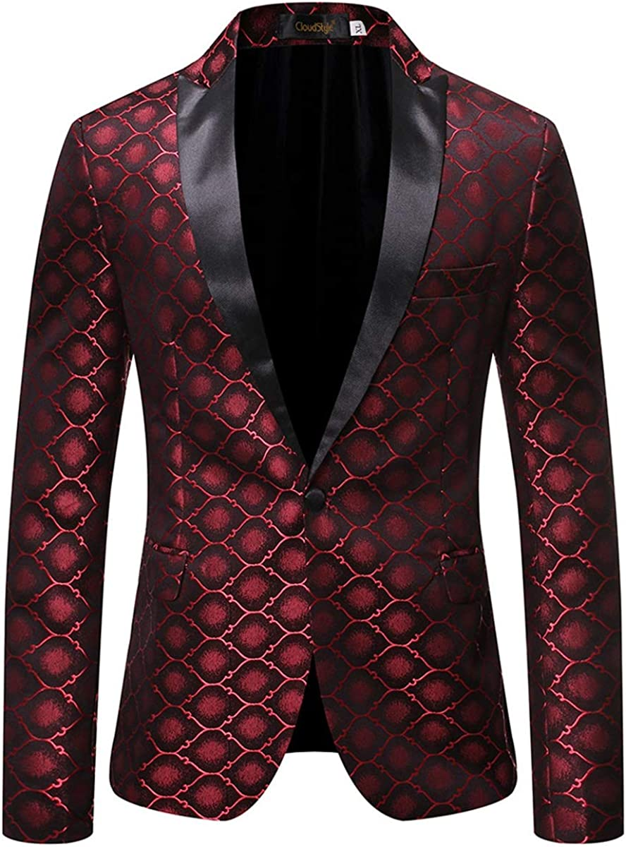 Mens Print Tuxedo Jacket 1 Button Slim Fit Dress Suit Blazer Formal Sport Coat