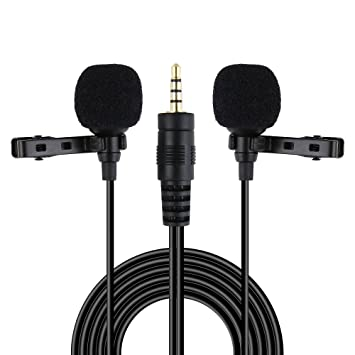 Riqiorod 20FT Dual Lavalier Microphone, Lapel Interview Clip-on Mini Omnidirectional Condenser Mic with