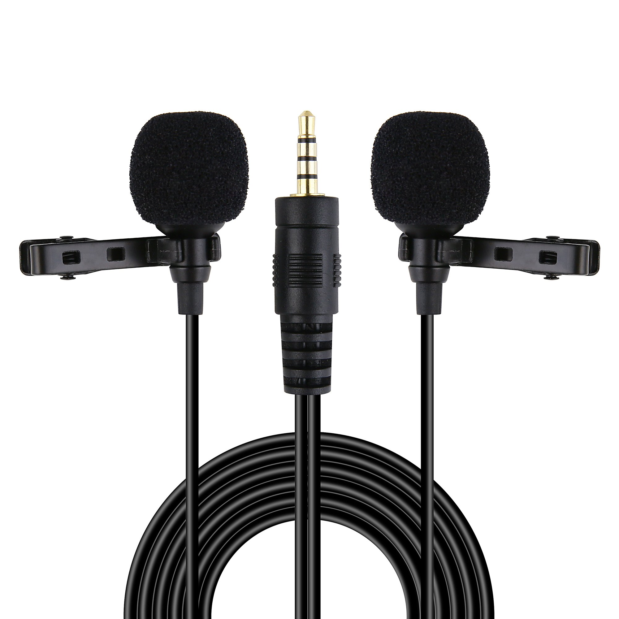 Riqiorod 20FT Dual Lavalier Microphone, Lapel Interview Clip-on Mini Omnidirectional Condenser Mic with TRRS to TRS Adapter for iPhone Android Smartphones iPad Media Player Xbox One Gaming Laptop,