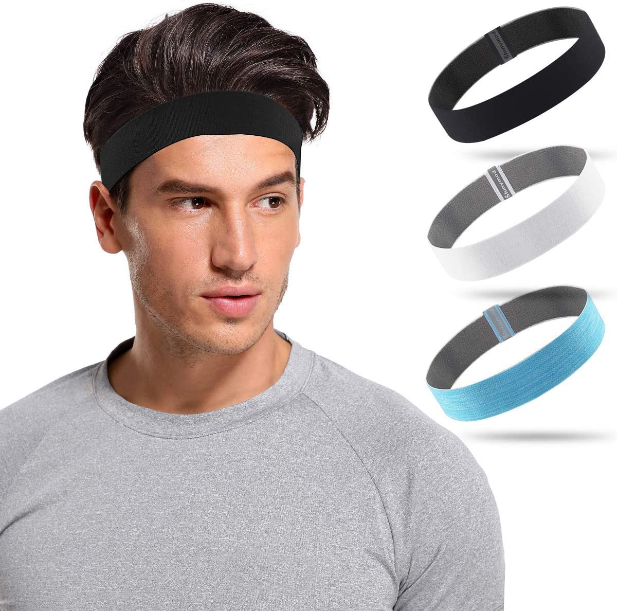 SHINYMOD Sports Headband for Men and Women,Non-Slip /& Sweat Wicking Athletic Sweatband for Running,Yoga,Crossfit,Working Out /& Basketball-Performance Stretch