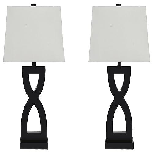 Signature Design by Ashley – Amasai Table Lamps – Set of 2 – Modern Base – Black