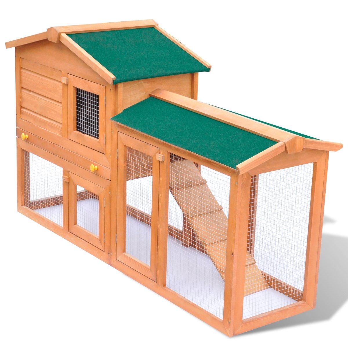 vidaXL Holz Kaninchenstall Hasenstall Kaninchenkäfig Hasenkäfig Kleintierhaus XXL
