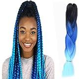Wigenius extension sintetiche per capelli in fibra Kanekalon, a forma di grossa treccia, 100 g, 61 cm, colore: sfumato