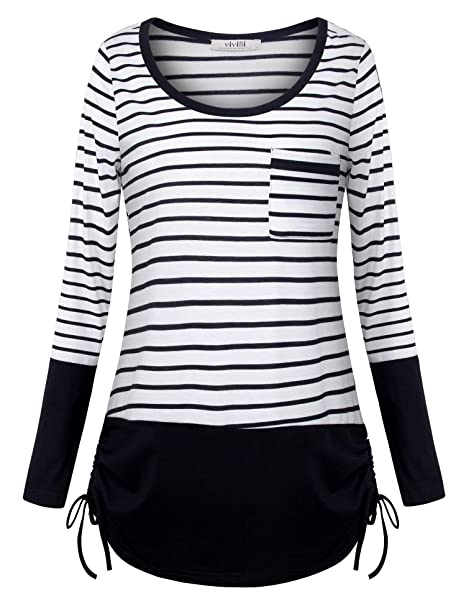 91310351950 Vivilli Junior Casual Striped Shirts Round Neck Cotton Blouse Loose Fitted T -Shirt Black White